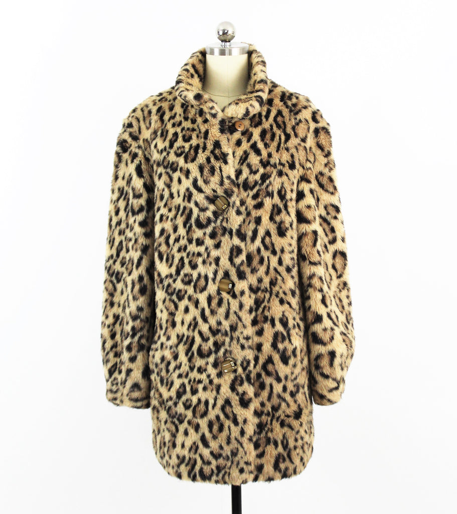 Vintage 1960's Russel Taylor Leopard Faux Fur Coat Long Jacket