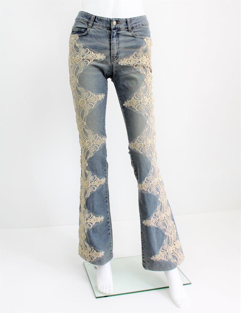 LUCENT Embellished Lace Light Wash Denim Flare Jeans Hippie Style NWOT