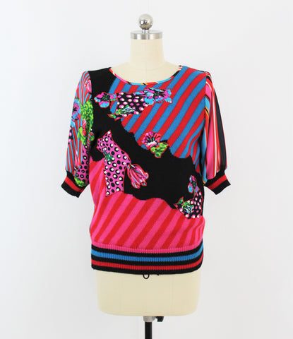 Vintage 1980's Diane Fres Embellished Knit Striped Knit Sweater
