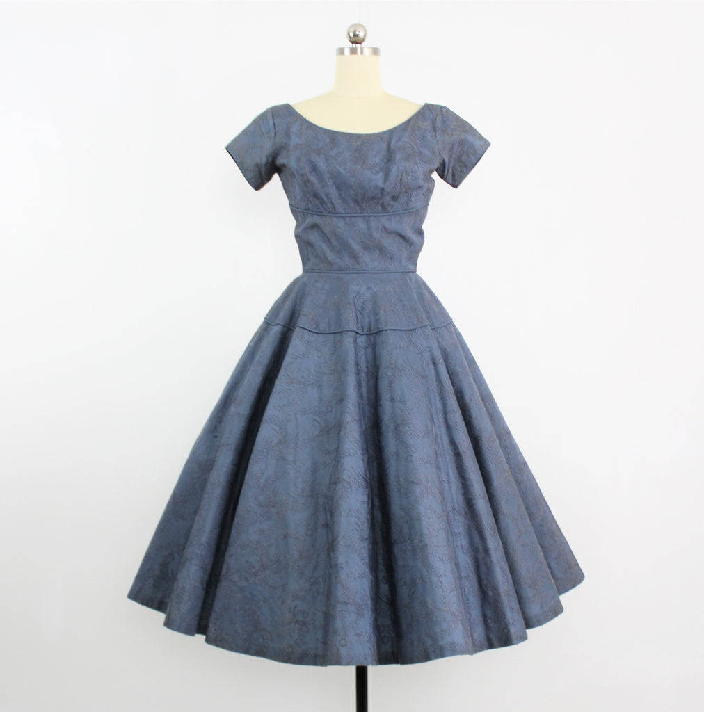 Vintage 1950's Slate Blue Embroidered Tulle & Taffeta Cocktail Dress