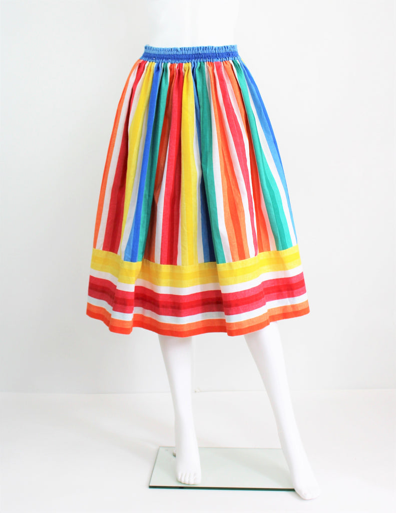 Vintage 1970's Rainbow Striped Swing Skirt