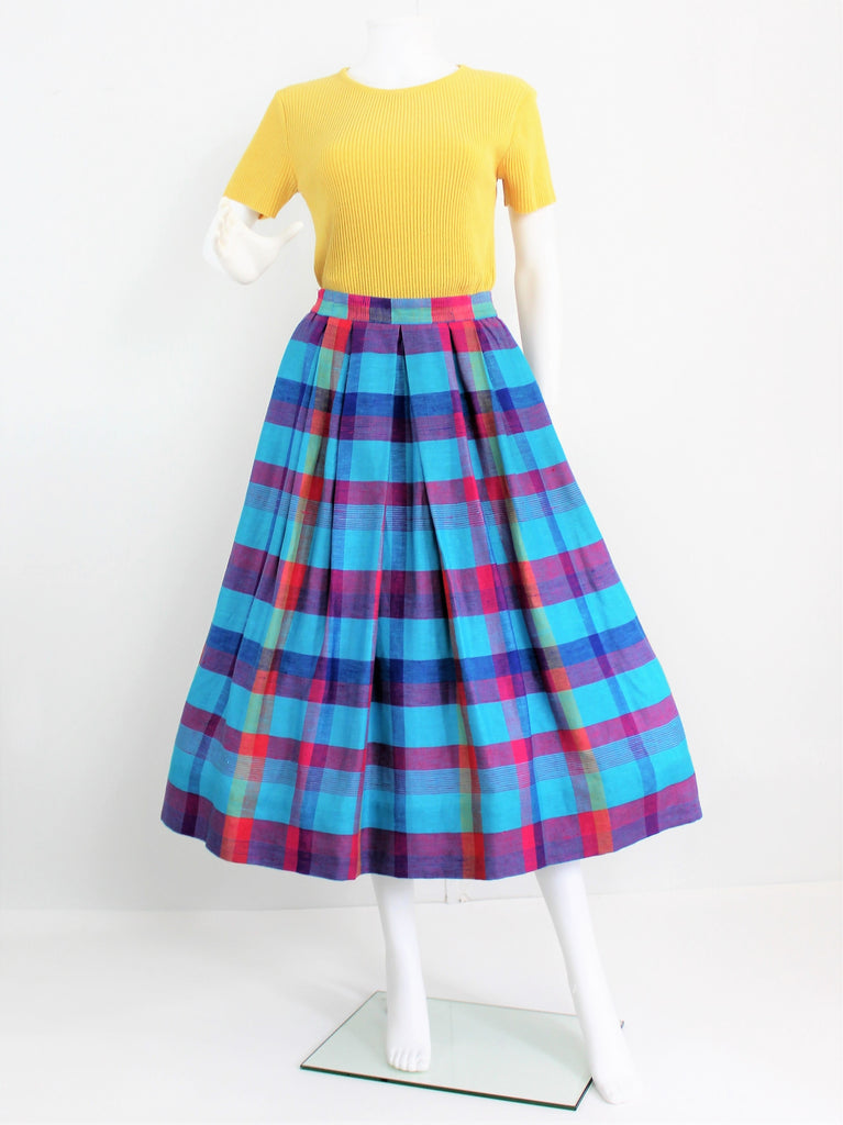 Vintage 1990's Pleated Checked Cotton Maxi Skirt