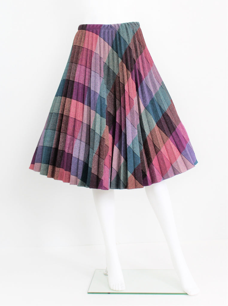 Vintage 1970's Accordion Pleated Wool Skirt