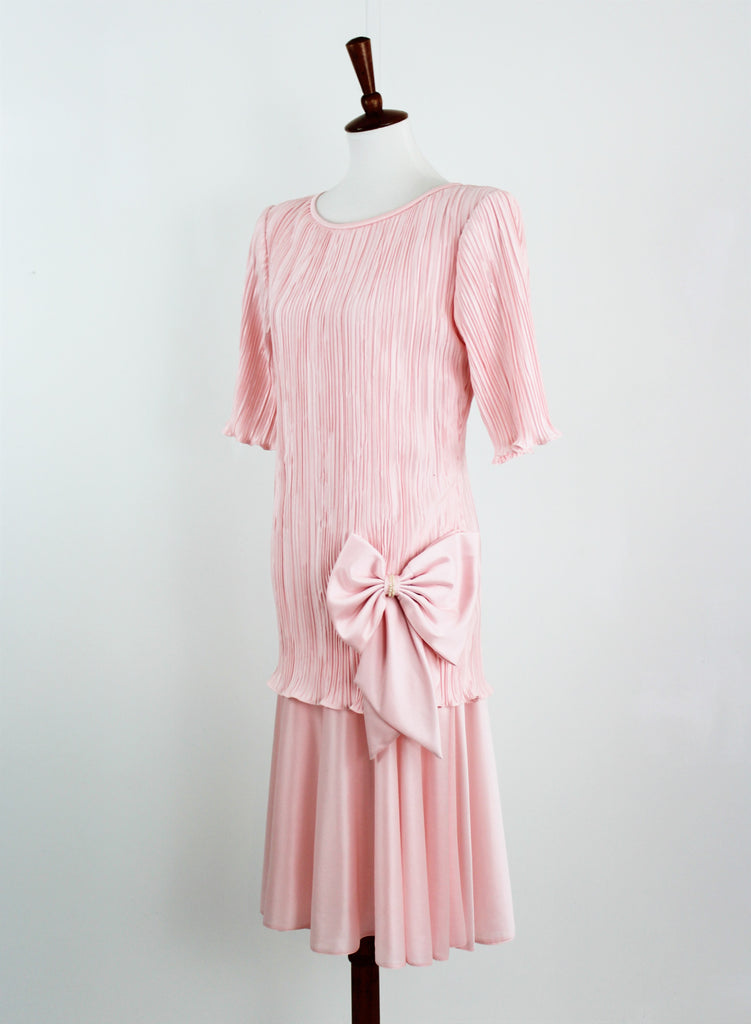 Vintage 1990's Formal Dress Pleated Bust Big Bow Dress