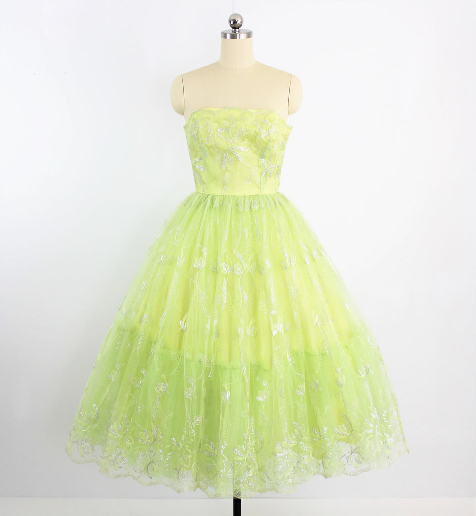 Vintage late 1940's/ early 1950's Fantastic Full Skirted Celadon Strapless Prom Dress W/Embroidery