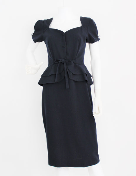 Retro 40's Stop Staring by Alicia Estrada Navy Blue Peplum Pencil Skirt Dress NWOT