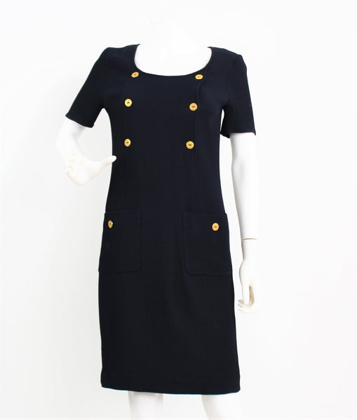 Vintage Valentino Navy Blue Wiggle Dress Gold Anchor Buttons Made In Italy