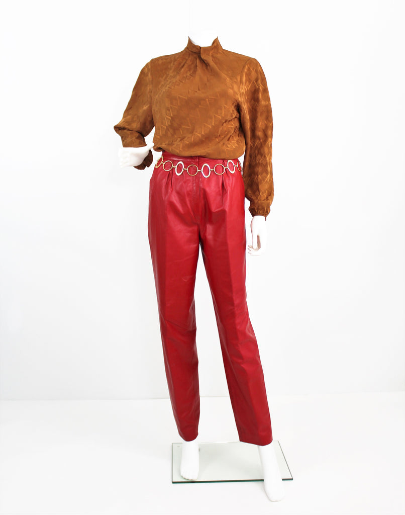 Vintage Rockstar Red Leather Pants by RUTH WAGNER