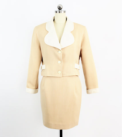 Vintage COURRÈGES Paris Pale Apricot Skirt Suit