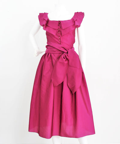 Vintage Lovely 1950's Silk Rayon Fuchsia Dress W/Sash