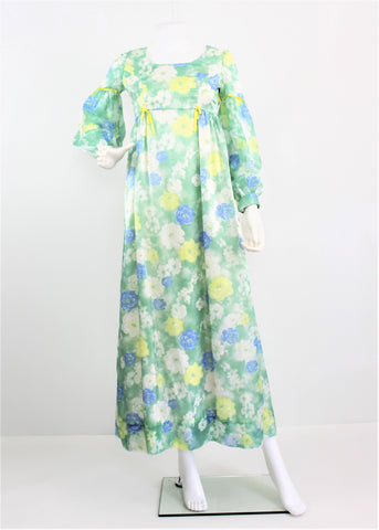 Vintage Late 1960's Chintz Maxi Floral Pastel Cocktail Chintz Dress w/Empire waist