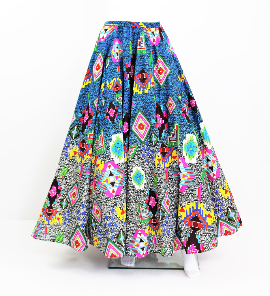 Mexican Aztec Psychedelic wide flared skirt Coachella Burning Man