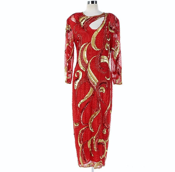 83855e17edc480 Vintage 1980 s Jas Jas Designs Red Silk Fully Beaded Evening Gown