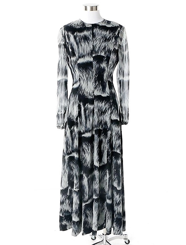 Vintage La Mendola Silk Abstract Print Long Sleeve Maxi Dress-Made in Italy