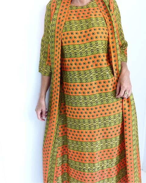 Vintage 60s Caftan Robe Dress