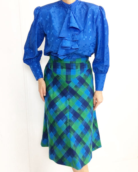 Vintage Turquoise Blue Plaid Tartan Skirt