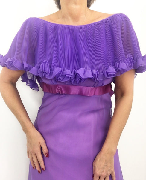 Vintage 70s Purple Accordion Pleated Cape Naxi Dress