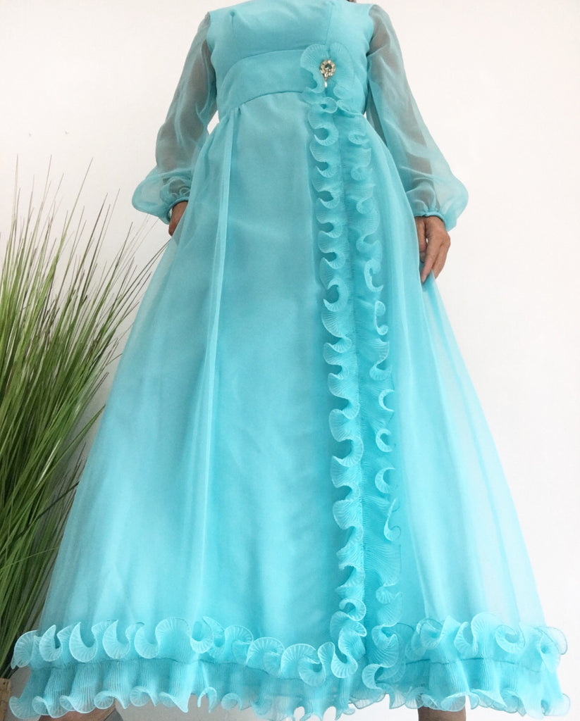 Vintage Late 60's / Early 70's Turquoise/Teal Maxi Chiffon Dress W/Brooch and Ruffles Prom Dress