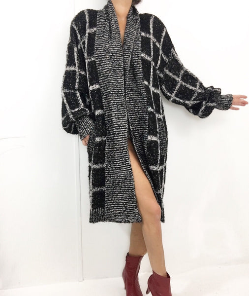 Vintage Knit Oversized Coat W/Bishop Sleeves