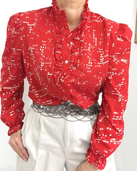 Vintage Ruffled Neckline Classic Blouse