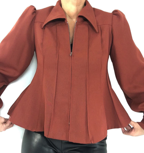 Vintage 70s Rust Pleated Peplum Jacket