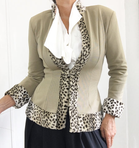 Vintage Cache Tan Stretch Cardigan W/Faux Cheetah Trim