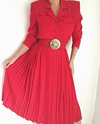 Vintage Lipstick Red Pleated Day Dress