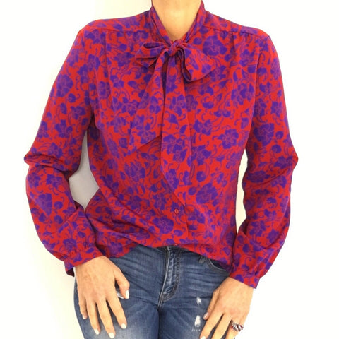 Vintage Fuchsia Red Purple Necktie Blouse