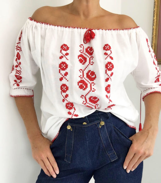 Vintage Hungarian Peasant Blouse Hand Embroidered Flower Cross Stitch