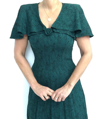 Vintage Lovely Hunter Green Caped Micro pleated Flared Dress