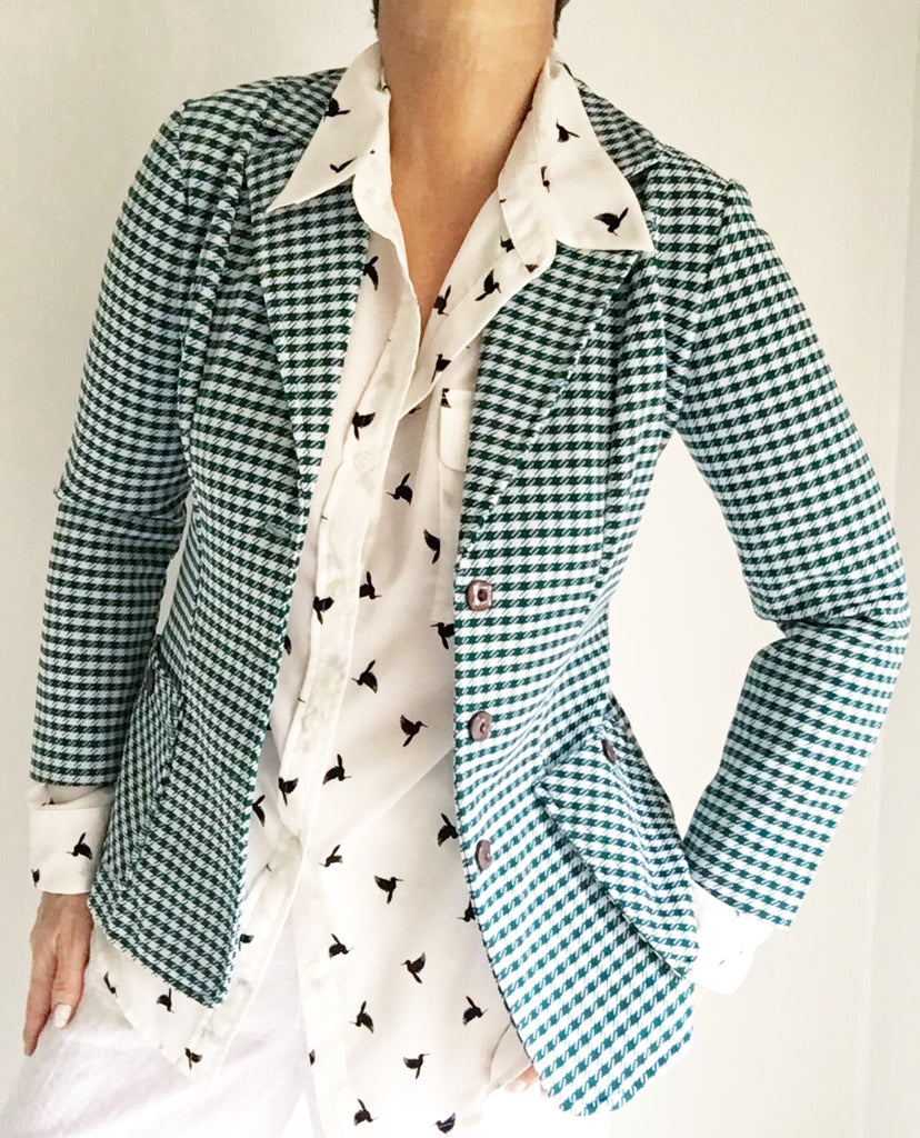 Vintage 70s Green White Checked Blazer