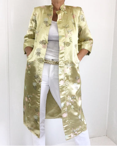 Vintage Champagne Gold Cheongsam Coat Dress