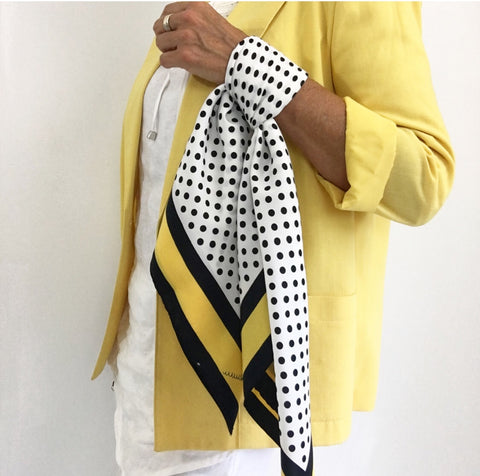 Vintage Polka Dot Yellow White Black Scarf