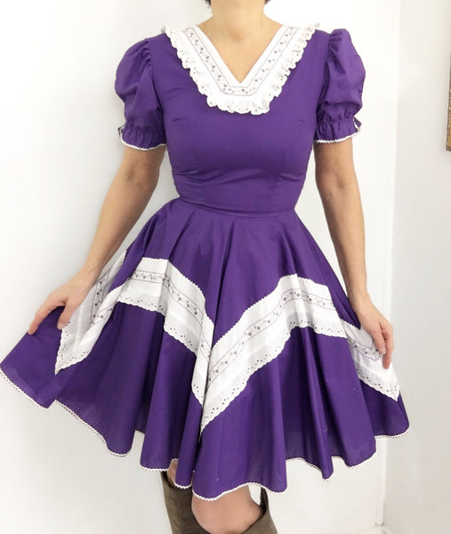 Vintage Purple Western Dress W/ Sweetest Lace Application