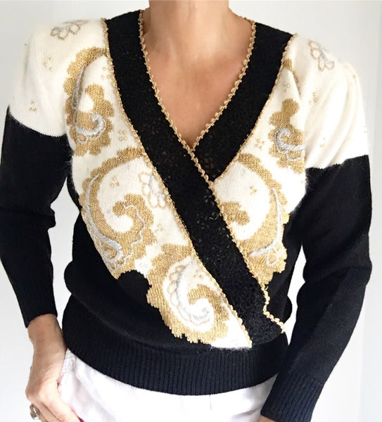Vintage 80s Deadstock Cross Body Crochet Beaded Sweater