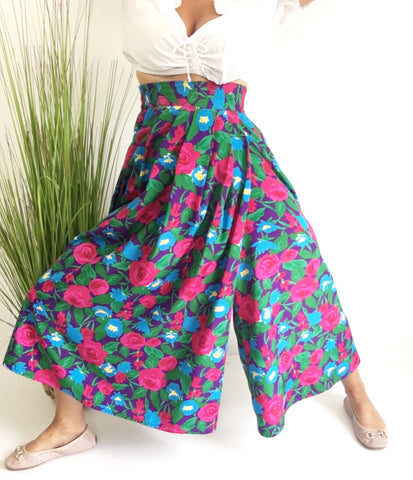 Vintage High Waisted Ultra wide Leg Skirt Harem Pants Culottes