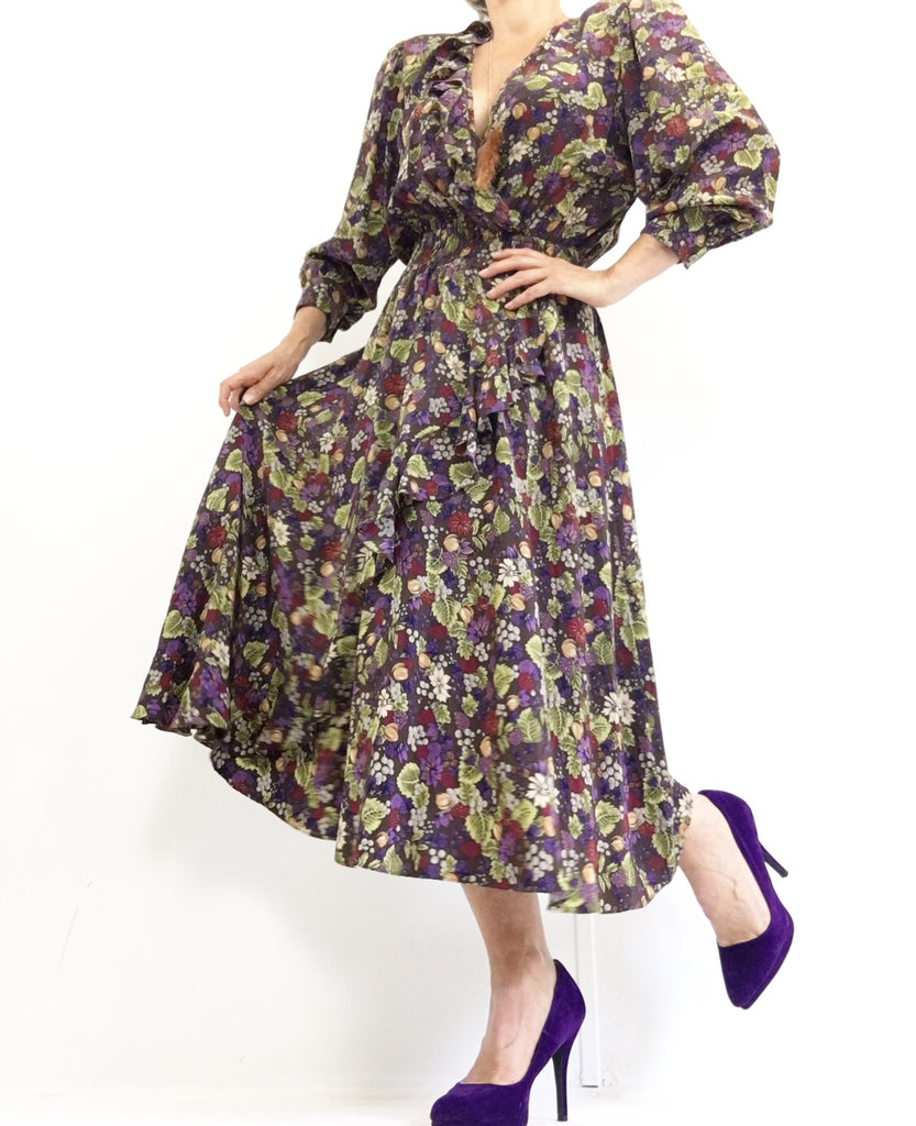 Vintage 80s Diane Freis Plum Fruitbasket Silk Dress NWT