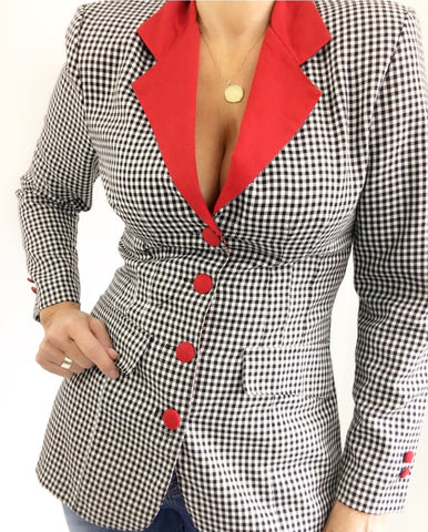 Vintage Checked Tailored To Fit Long Blazer W/Red Collar And Buttond