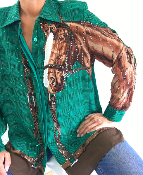 Vintage Exclusive Country Style Sequined 100% Silk Blouse