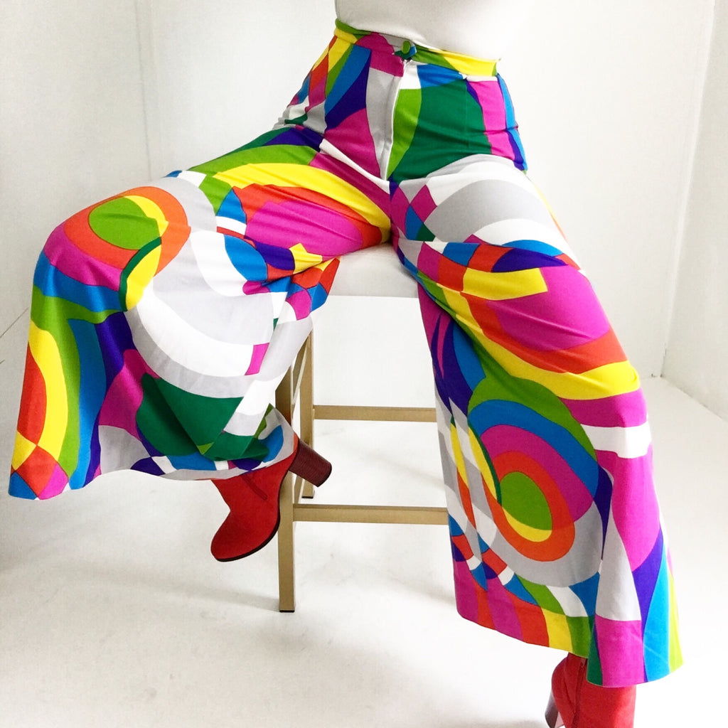 Fantastic 70s Tori Richards Psychedelic Woodstock Wide Leg Pants