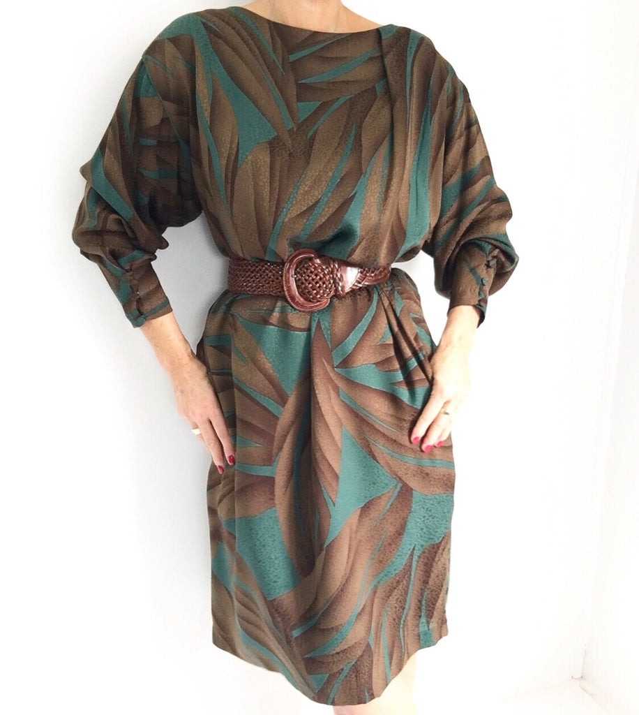 Vintage HANAE MORI Silk Retro Print Dress
