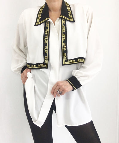 Vintage Oversized Cape Embroidered Blouse