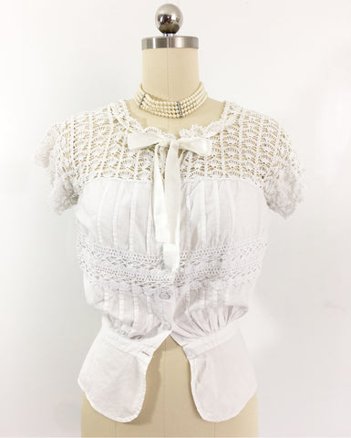 Antique Edwardian 1910 Crochet Cotton Blouse