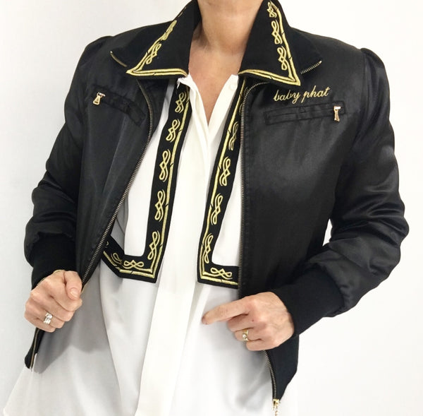 Super Cool Black Gold Bomber Jacket By Baby Phat