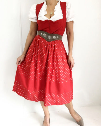 Vintage 70s Original German Dirndl Dress W/ Dirndl Blouse