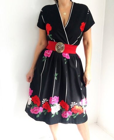 Vintage 1960' Rizkallah for Mardi Gras Rose Print Dress