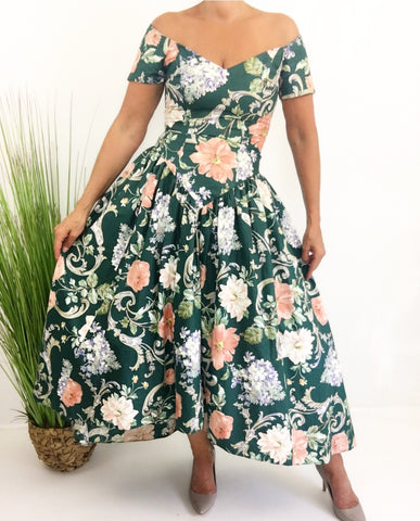Vintage Loralie Originals Green Floral Crinoline High Low Dress