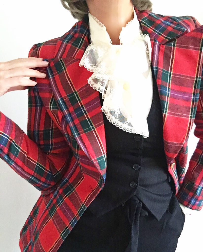 Vintage Late 60s Tartan Plaid Bay City Rollers Classic Blazer