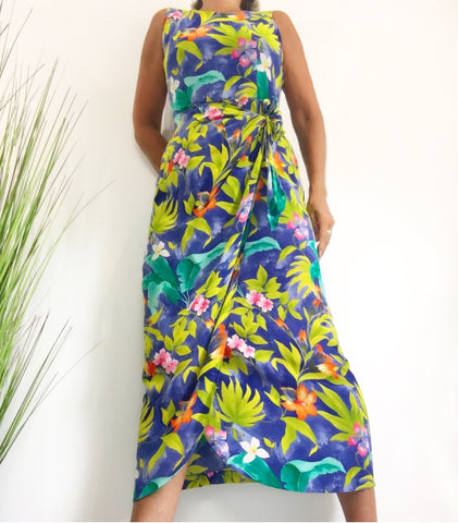 August Hale Fabulous Drape Silk Dress w/Hawaiian vibrant floral print