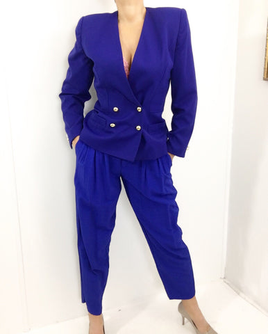 Vintage Royal Blue High Waisted Pleated Pants